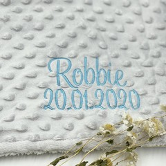 Personalised birth blanket   Embroidered   Newborn gift   Personalised gift idea