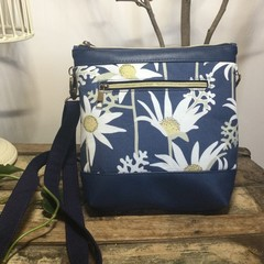 Jasmine Crossbody Bag - Aust. Flannel Flowers/Navy Faux Leather