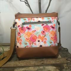 Jasmine Crossbody Bag - Pink & Orange Roses/Tan Faux Leather