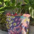 Bold floral and trapeze BrightPot /Fabric basket/ Fabric Plant pot Large
