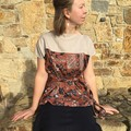 Women's wrap top size S/M, Japanese pattern linen and rayon, ethical fashion