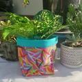 Hot Pink and Teal Leafy BrightPot/ Fabric Planter / Plant Pot (Medium)