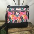 Jasmine Crossbody Bag - Pink Roses/Black Faux Leather