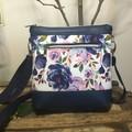 Jasmine Crossbody Bag - Navy Blue Roses/Navy Faux Leather
