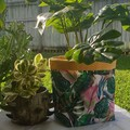 Monstera and Mustard Paradise BrightPot Fabric basket / fabric planter Large