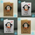Handmade Greeting Card with Crochet Penguin