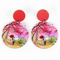 Wood Earrings • Red Cherry Blossom • Surgical Steel • Eco Gift Ideas