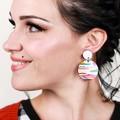 Wood Earrings • Artist Print • Surgical Steel • Eco Gift Ideas