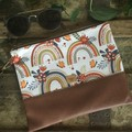 Flat Clutch - Rainbows/Brown Faux Leather