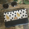 Small Flat Clutch - Leopards/Black Faux Leather