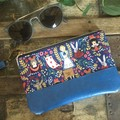 Small Flat Clutch - Alice in Wonderland/Blue Faux Leather