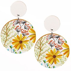 Wood Earrings • Yellow Daisy • Surgical Steel • Eco Gift Ideas