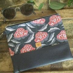 Flat Clutch - Waratahs/Navy Faux Leather
