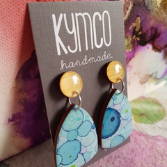 The Blue Confetti Collection - resin large dangle earrings