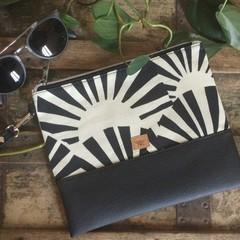Flat Clutch - B &W Sunrise/Black Faux Leather