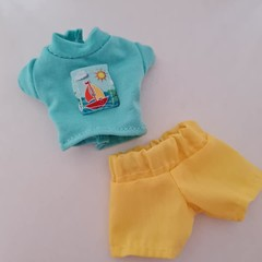 Barbie doll clothes - green top with sailboat motive and yellow shorts set