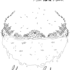 Colouring Page for Children or Adults - Lotus flowers - Pond - Instant download
