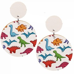 Wood Earrings • Dinosaur Party • Surgical Steel • Eco Gift Ideas
