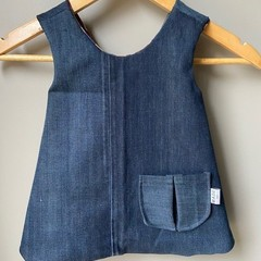 Handmade Denim and Cotton Reversible Pinafore Dress
