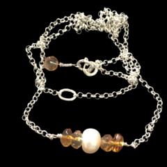 Yellow citrine natural gemstone, freshwater pearl, Chocker, Italian Sterling Sil