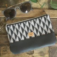Small Flat Clutch - Black Diamonds on Grey/Black Faux Leather