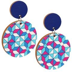 Wood Earrings • Geometric Blue • Surgical Steel • Eco Gift Ideas