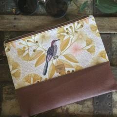 Flat Clutch - Aust. Gum Blossom Mustard/Brown Faux Leather