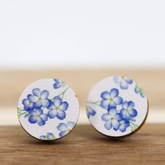 Wood Stud Earrings • Forget Me Not Flower • Surgical Steel • Eco Gift Ideas