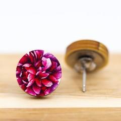 Wood Stud Earrings • Pink Peony Flower • Surgical Steel • Eco Gift Ideas