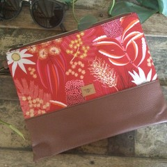 Flat Clutch - Aust. Natives Red/Brown Faux Leather