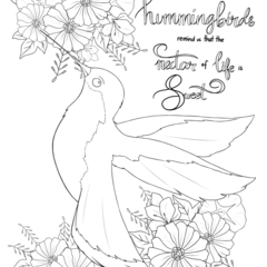 Colouring Page for Children or Adults - Hummingird - Flowers - Instant download