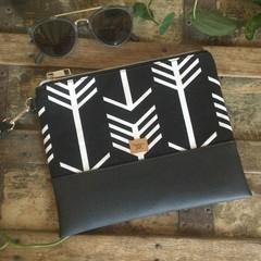 Flat Clutch - Black & White Arrows/Black Faux Leather