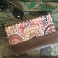 Small Flat Clutch - Aboriginal Sandhills/Brown Faux Leather