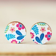 Wood Stud Earrings • White Floral • Surgical Steel • Eco Gift Ideas