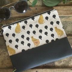 Flat Clutch - Leopards/Black Faux Leather