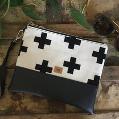Flat Clutch - Black Crosses/Black Faux Leather
