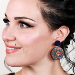 Wood Earrings • Retro Kaleidoscope • Surgical Steel • Eco Gift Ideas