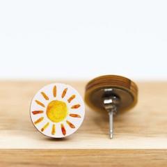 Wood Stud Earrings • Sunshine • Surgical Steel • Eco Gift Ideas