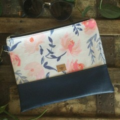 Flat Clutch - Pink & Blue Floral/Navy Faux Leather