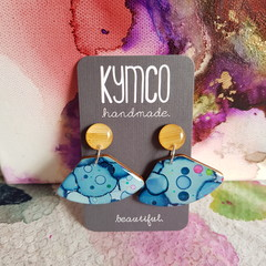 The Blue Confetti Collection -  large dangle resin earrings