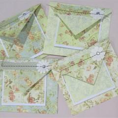 Pastel Roses - handmade cards & envelopes (set of 4)