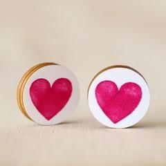 Wood Stud Earrings • Fuchsia Hearts • Surgical Steel • Eco Gift Ideas