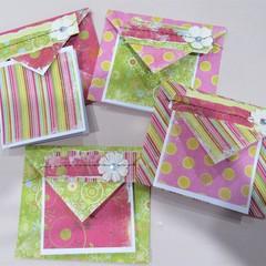Funky Florals - handmade cards & envelopes (set of 4)