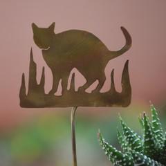 Cat in the Long Grass Brass Garden Decoration