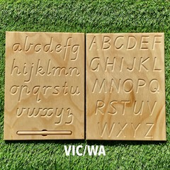 Handcrafted Double Sided Alphabet Tracing Board/Writing Board - Different Fonts