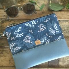 Flat Clutch - Blue Wattle/Blue Faux Leather