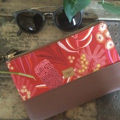 Small Flat Clutch - Aust. flowers Red/Brown Faux Leather