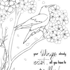 Colouring Page for Children or Adults - Bird - Flowers - Instant download