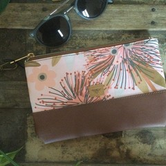 Small Flat Clutch - Pink Gum Blossom/Brown Faux Leather