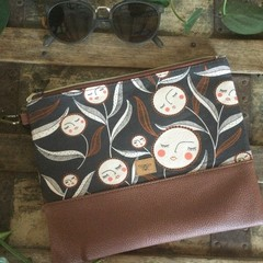 Flat Clutch - Flower Faces/Brown Faux Leather
